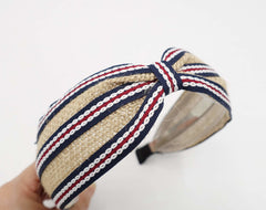 veryshine.com Headbands & Turbans Dark navy linen stripe headband front knot hairband for women