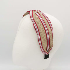 veryshine.com Headbands & Turbans linen stripe headband front knot hairband for women