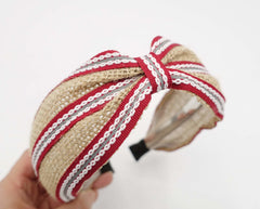 veryshine.com Headbands & Turbans Red linen stripe headband front knot hairband for women