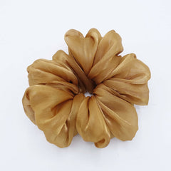 veryshine.com Scrunchie Caramel organza oversized  scrunchies big giant jumbo scrunchie clooud scrunchy women organdy hair elastic tie
