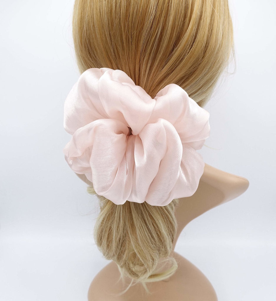 veryshine.com Scrunchie Indi pink organza oversized  scrunchies big giant jumbo scrunchie clooud scrunchy women organdy hair elastic tie