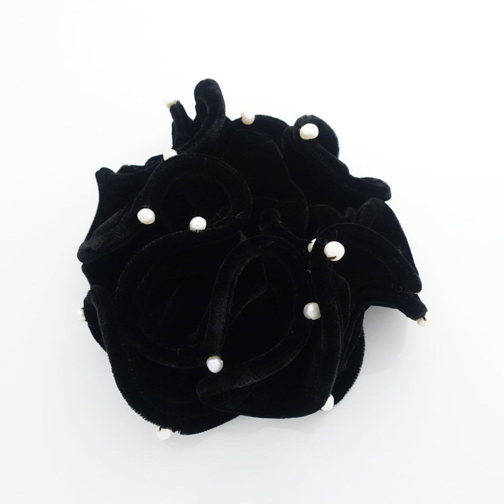 veryshine.com scrunchies/hair holder 3.54 inches pearl ball decorated silk velvet scrunchies luxury style soft hair tie scrunchy for women