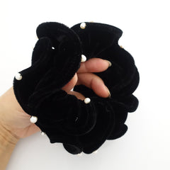 veryshine.com scrunchies/hair holder 4.33 inches pearl ball decorated silk velvet scrunchies luxury style soft hair tie scrunchy for women