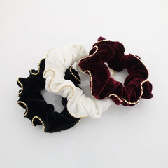 veryshine.com scrunchies/hair holder A set of 3 scrunchies velvet scrunchies set golden chain trim hair scrunchie pack women hair accessories
