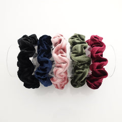 veryshine.com scrunchies/hair holder A set of 5 velvet scrunchies 5 velvet scrunchies pack stripe pattern velvet thin scrunchies set for women