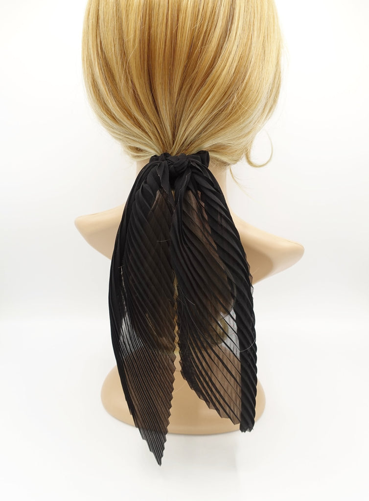 veryshine.com scrunchies/hair holder Black pleated scrunchies chiffon bow long tail scarf hair tie scrunchie