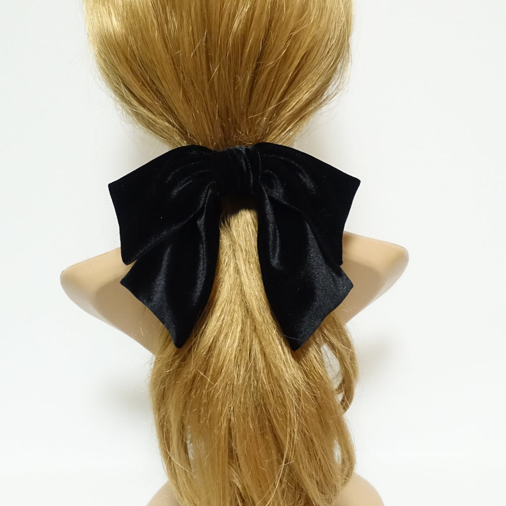 veryshine.com scrunchies/hair holder Black velvet drape hair bow ponytail holder basic floppy style bow elastic hair ties