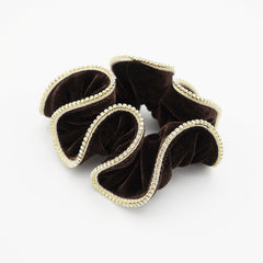 veryshine.com scrunchies/hair holder Brown crystal rhinestone decorated velvet scrunchies women hair elastic tie scrunchy