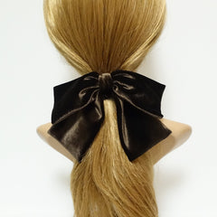 veryshine.com scrunchies/hair holder Brown velvet drape hair bow ponytail holder basic floppy style bow elastic hair ties