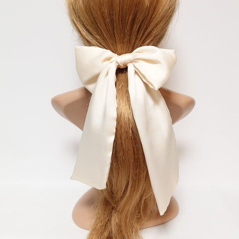 glossy satin bow knot long tail hair tie solid color ponytail holder women hair elastic