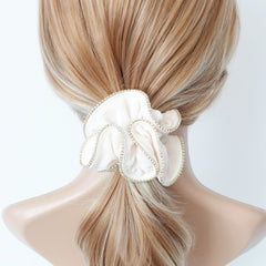 veryshine.com scrunchies/hair holder Cream white crystal rhinestone decorated velvet scrunchies women hair elastic tie scrunchy