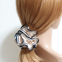 veryshine.com scrunchies/hair holder Ivory Stripe edge Satin Hair Elastic Ties Scrunchies