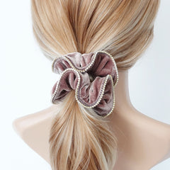 veryshine.com scrunchies/hair holder Mocca beige crystal rhinestone decorated velvet scrunchies women hair elastic tie scrunchy