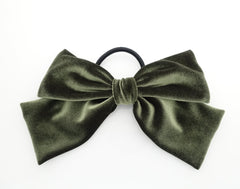 veryshine.com scrunchies/hair holder Olive green velvet drape hair bow ponytail holder basic floppy style bow elastic hair ties