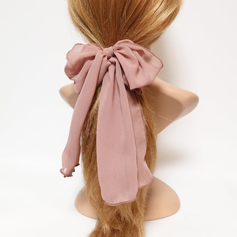chiffon bow knot hair elastic tailed ponytail holder women hair accessories