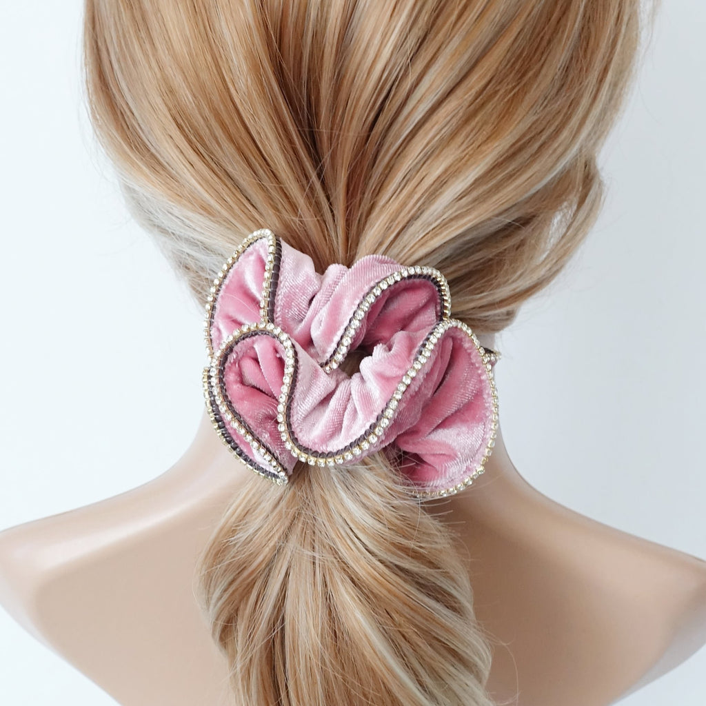 veryshine.com scrunchies/hair holder Pink crystal rhinestone decorated velvet scrunchies women hair elastic tie scrunchy