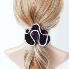 veryshine.com scrunchies/hair holder Purple crystal rhinestone decorated velvet scrunchies women hair elastic tie scrunchy