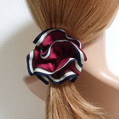 veryshine.com scrunchies/hair holder Red wine Stripe edge Satin Hair Elastic Ties Scrunchies