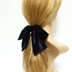 veryshine.com scrunchies/hair holder velvet drape hair bow ponytail holder basic floppy style bow elastic hair ties