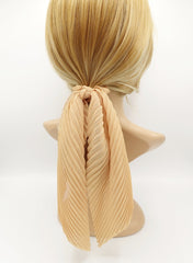 veryshine.com scrunchies/hair holder Yellow beige pleated scrunchies chiffon bow long tail scarf hair tie scrunchie