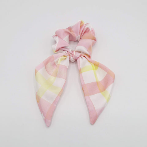 satin print bow knot scrunchies floral check hair elastic scrunchy for women