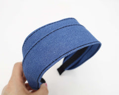 VeryShine Headband Blue denim flat headband stitch hairband casual hair accessory for women