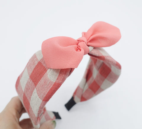 gingham linen bow knot headband Spring Summer hair accessory for women