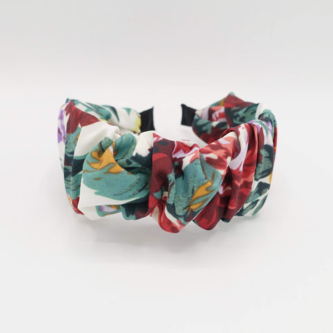 large flower print headband pleated hairband colorful hair accessory for women