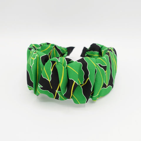 leaves abstract print pleated headband vivid color hairband for women