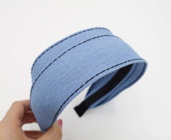 VeryShine Headband Sky blue denim flat headband stitch hairband casual hair accessory for women