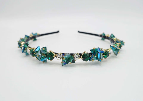 luxury crystal rhinestone headband polyhedron jewel beaded hairband for women