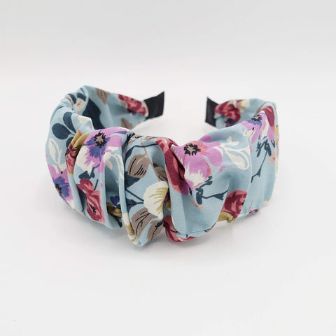 medium flower print headband pleated hairband colorful hair accessory for women