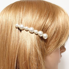 VeryShine pearl rhinestone decorated french barrette elegant side hair clip women accessory