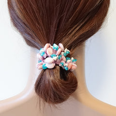 VeryShine scrunchies/hair holder Acrylic stone  Faux Turquoise Glittering Metallic Thread Elastic Ponytail Holder