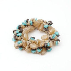 VeryShine scrunchies/hair holder Beige Acrylic stone  Faux Turquoise Glittering Metallic Thread Elastic Ponytail Holder