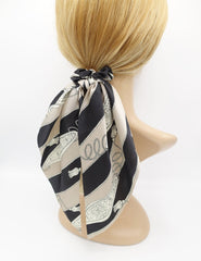 VeryShine scrunchies/hair holder Black satin tassel rope print scrunchies wing knot hair elastic glossy scrunchy