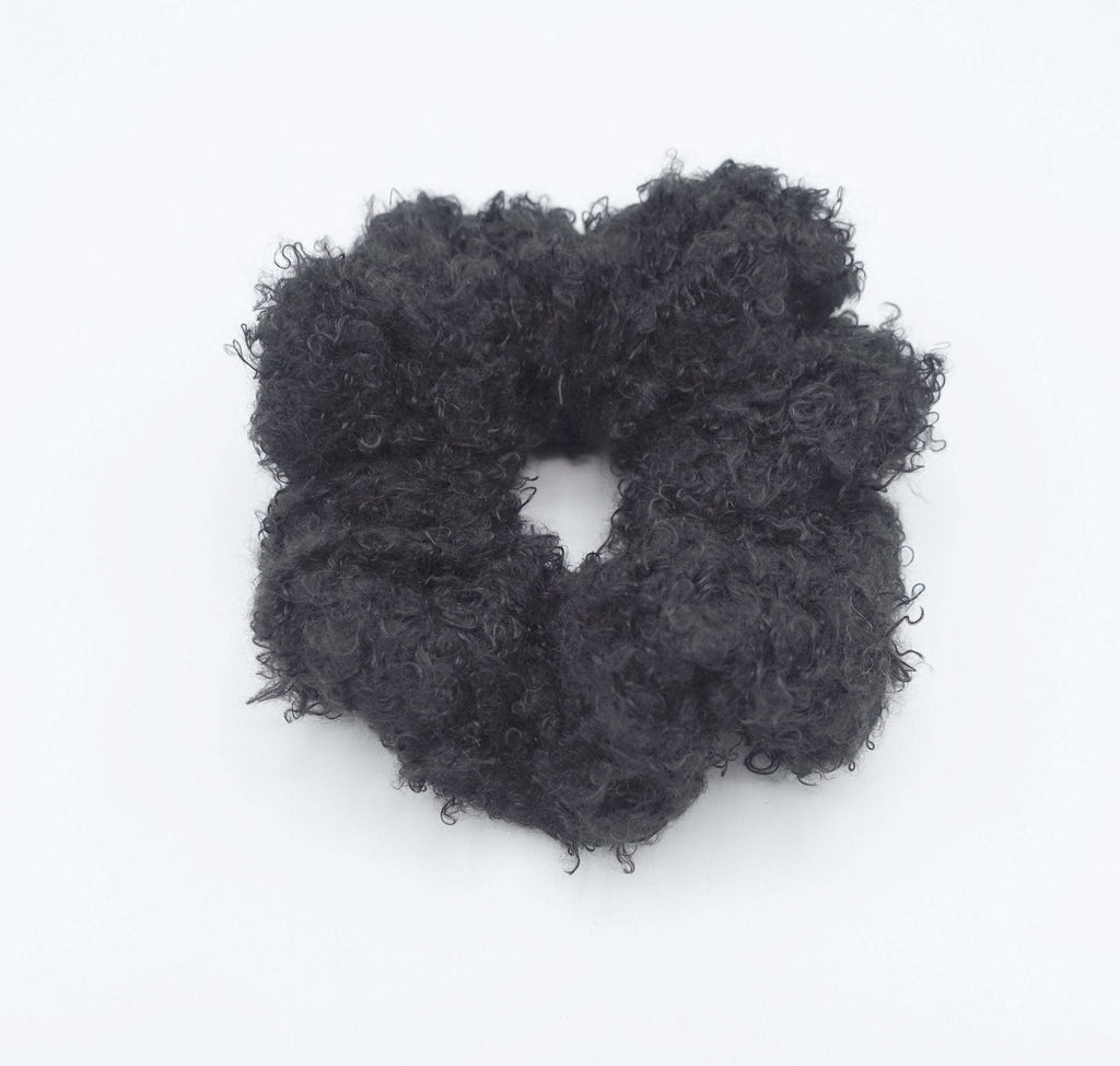 VeryShine scrunchies/hair holder Black teddy fur scrunchies soft fabric Winter hair elastic scrunchie for women