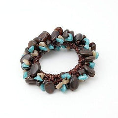VeryShine scrunchies/hair holder Brown Acrylic stone  Faux Turquoise Glittering Metallic Thread Elastic Ponytail Holder