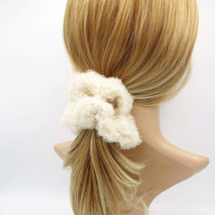 VeryShine scrunchies/hair holder Cream white teddy fur scrunchies soft fabric Winter hair elastic scrunchie for women