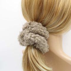 VeryShine scrunchies/hair holder Mocca beige teddy fur scrunchies soft fabric Winter hair elastic scrunchie for women