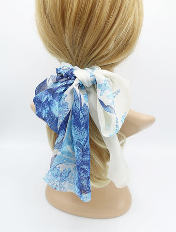 big flower print chiffon scarf scrunchies bow knot hair elastic scrunchie for women