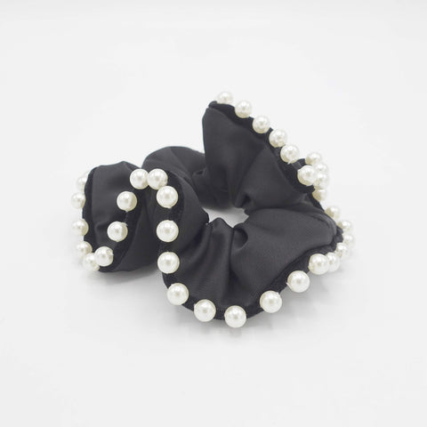 black satin scrunchies sleek pearl ball trim embellished hair elastic scrunchy women hair accessories