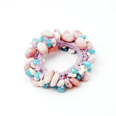 VeryShine scrunchies/hair holder Pink Acrylic stone  Faux Turquoise Glittering Metallic Thread Elastic Ponytail Holder