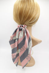VeryShine scrunchies/hair holder Pink satin tassel rope print scrunchies wing knot hair elastic glossy scrunchy