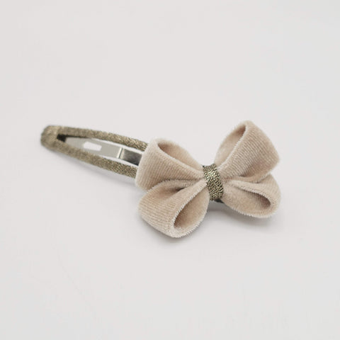 tiny velvet bow snap hair clip