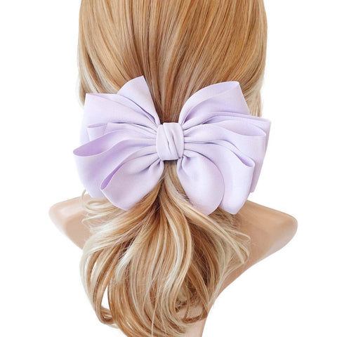 chiffon multi layered bow french hair barrette clip
