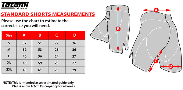 Tatami Standard Shorts Measurements