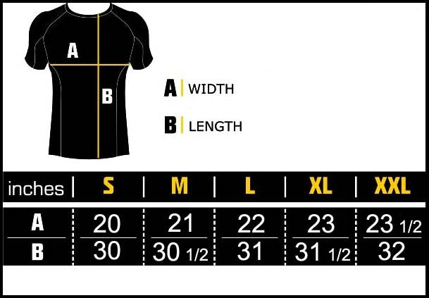 Manto Rash Guard Size Chart