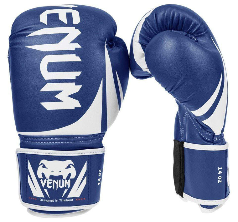Venum Challenger 2.0 Boxing Gloves Color Blue Front and Side View