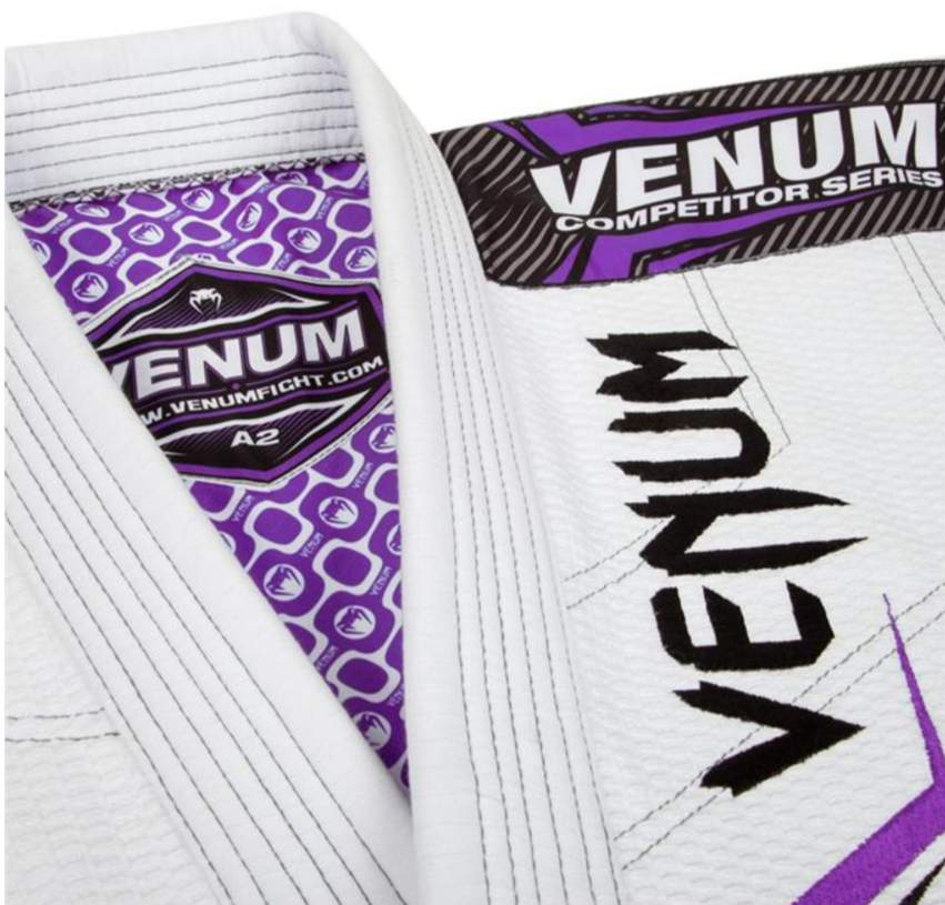 Venum Elite BJJ Gi White/Purple Front and Rear Pose
